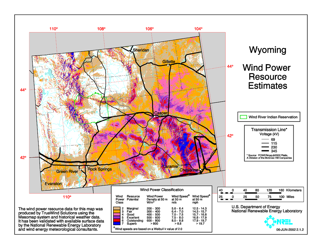 Free Wyoming State Map.Download Free Wyoming Wind Energy Maps