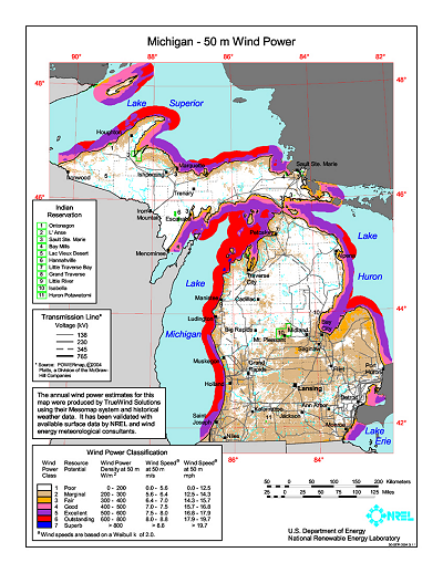 picture regarding Printable Maps of Michigan referred to as Obtain Absolutely free Michigan Wind Electrical power Maps