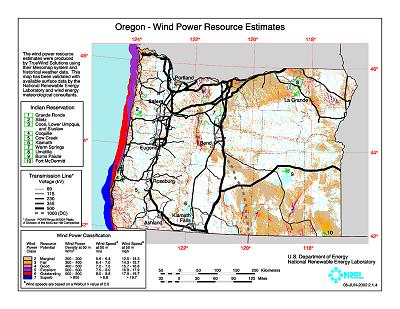 Free Oregon Map.Download Free Oregon Wind Energy Maps